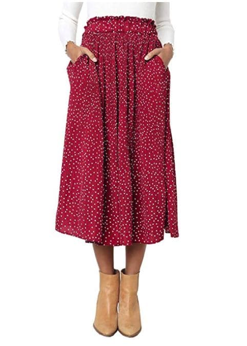 Women's Elastic Waist Polka Dot Printed Pleated Vintage Skirt